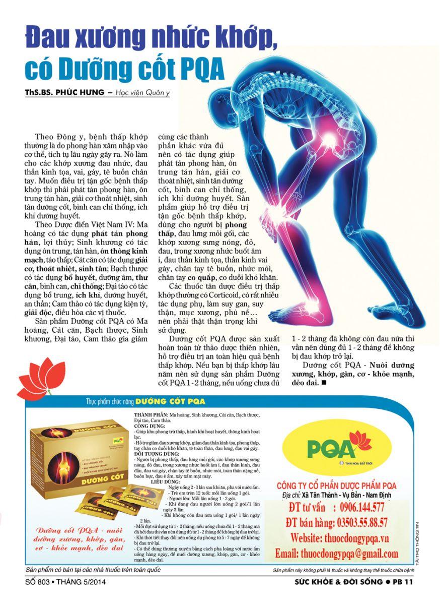 Đau xương nhức khớp có Duỡng cốt PQA
