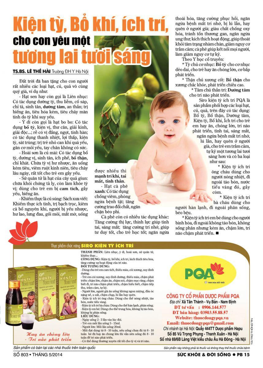 Bài viết về Kiện tỳ, bổ khí, ích trí, giúp trẻ hết biếng ăn, chậm lớn